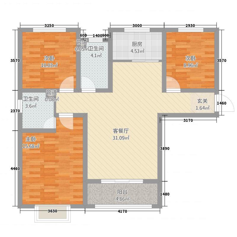 中央华府112.20㎡一期D10号楼标准层A户型3室2厅2卫1厨