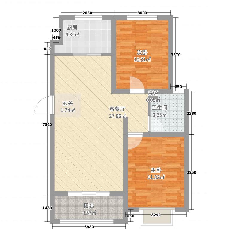 中央华府1.20㎡一期D10号楼标准层B户型2室2厅1卫1厨