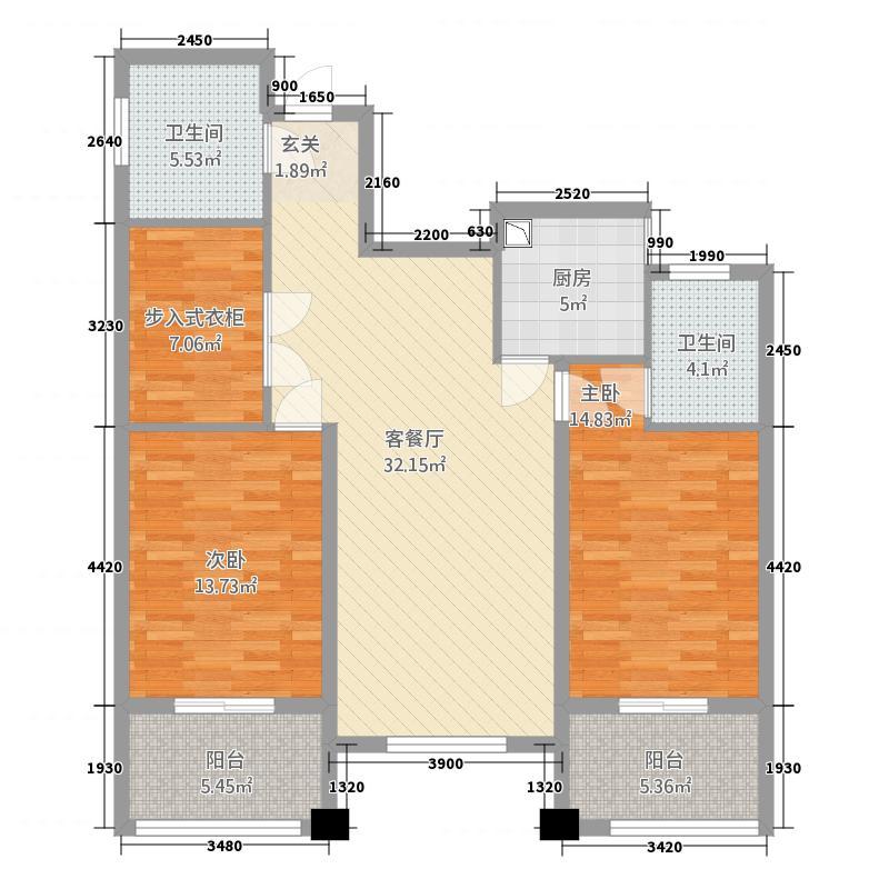 豪成贝利花苑132.20㎡J户型2室2厅2卫1厨