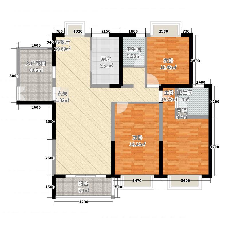 嘉逸・岭湾142.82㎡一期云台3-D1户型3室2厅2卫1厨