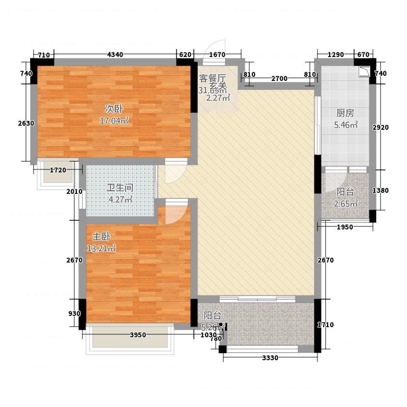 置铖御府21.57㎡户型2室2厅1卫