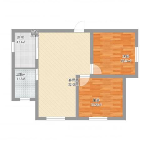 乐活・两岸568庄园2室1厅2卫1厨76.00㎡户型图