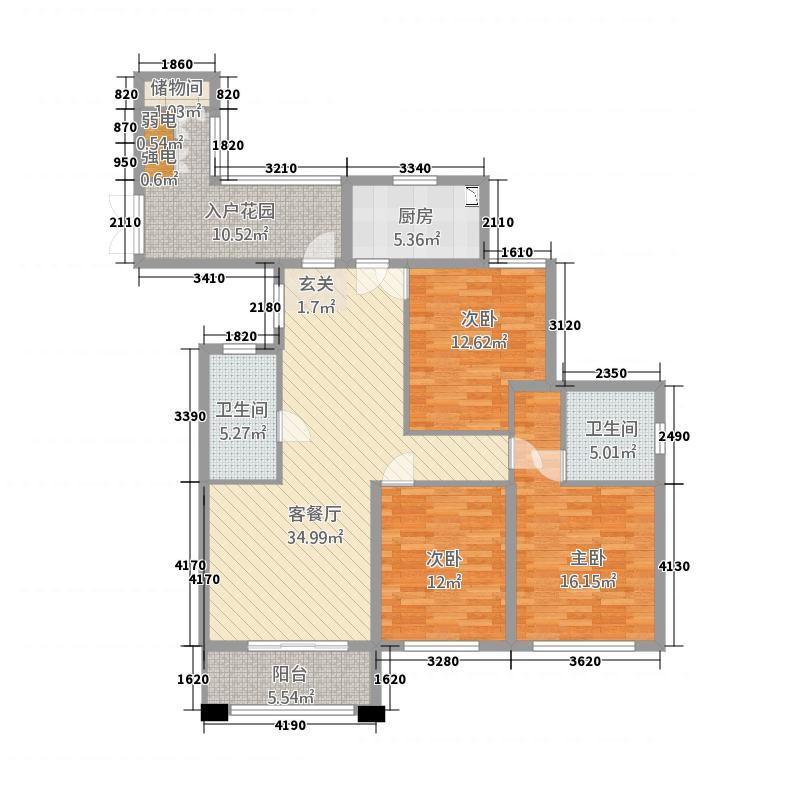 豪成贝利花苑14.20㎡I户型3室2厅2卫1厨