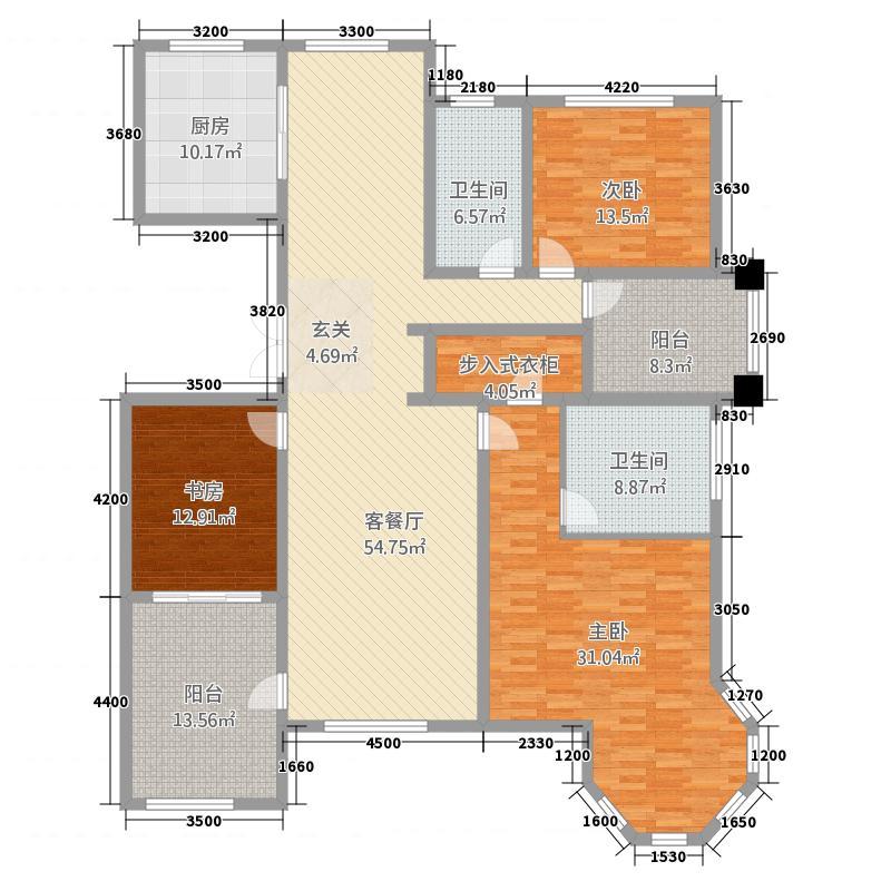 奥伦达部落西郡原著188.61㎡一期高层C2户型3室2厅2卫1厨
