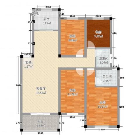 中岭康城4室1厅2卫1厨117.00㎡户型图
