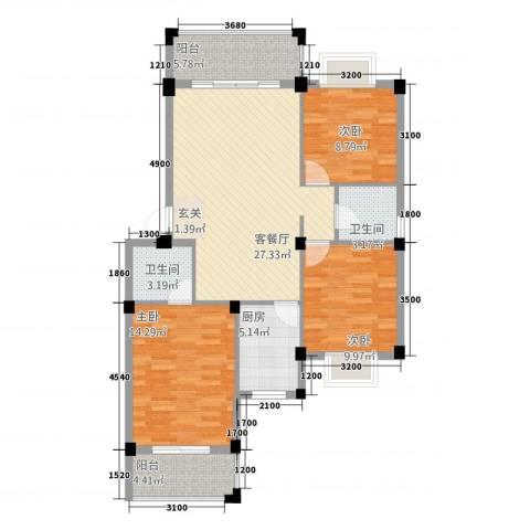 阳光名邸3室1厅2卫1厨87.00㎡户型图