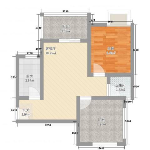 逸清远景1室1厅1卫1厨44.99㎡户型图