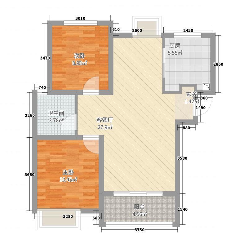 中国铁建・明山秀水88.42㎡7#楼C1户型2室2厅1卫1厨