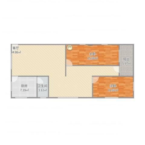 教工小区2室1厅1卫1厨119.00㎡户型图