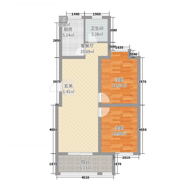明昊和府2.20㎡G户型2室1厅1卫1厨