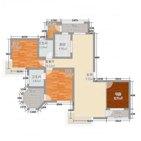 新世纪绿树湾3室1厅2卫1厨94.06㎡户型图