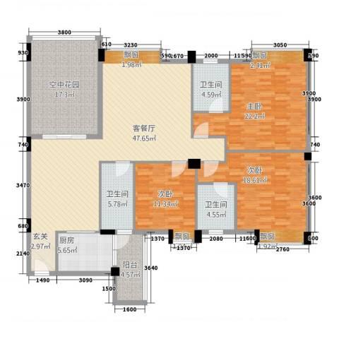 丽景华庭3室1厅3卫1厨3153.00㎡户型图