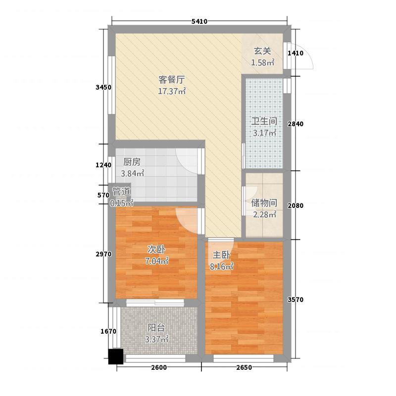 月亮湾466.62㎡一期高层4#楼标准层户型2室2厅1卫1厨