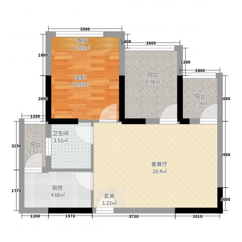 三顺世纪大都会3437.42㎡3栋4栋7-28层E户型1室1厅1卫1厨