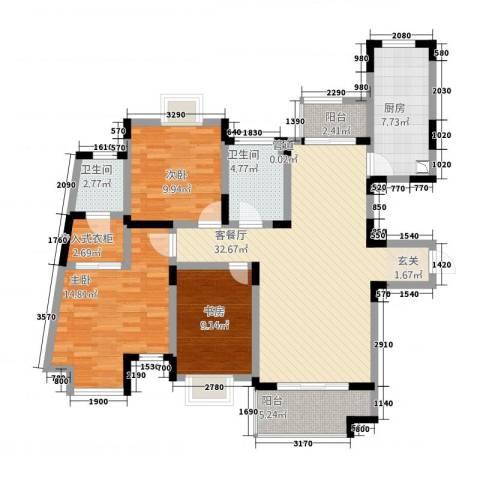 新世纪绿树湾3室1厅2卫1厨92.40㎡户型图