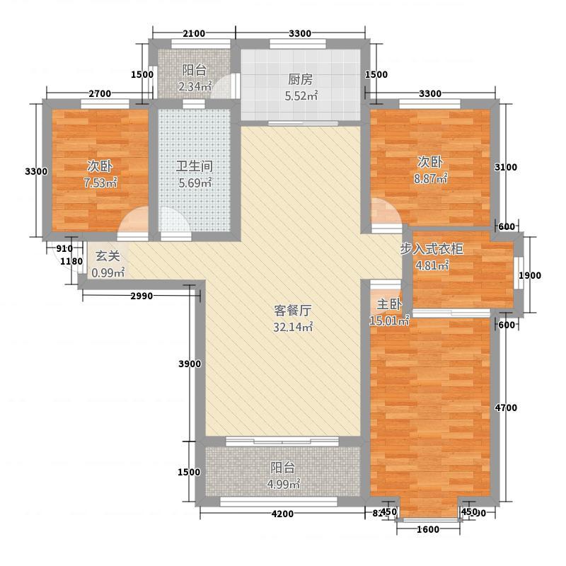 汇丰・爱情公寓127.00㎡户型