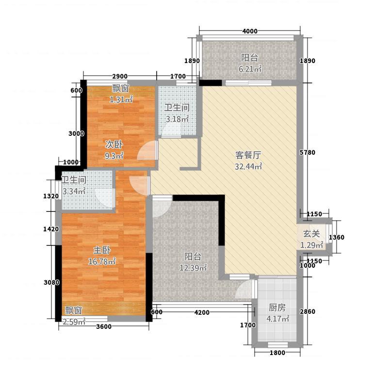 三顺世纪大都会34111.42㎡3栋4栋7-28层A户型2室2厅2卫1厨