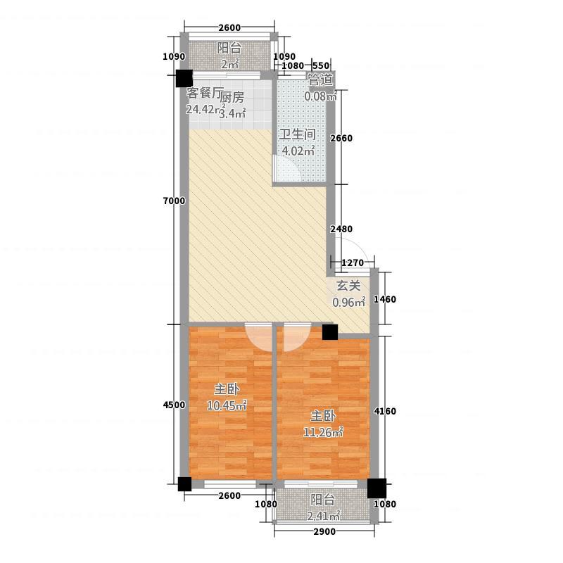 中鼎佳园277.20㎡户型2室1厅1卫