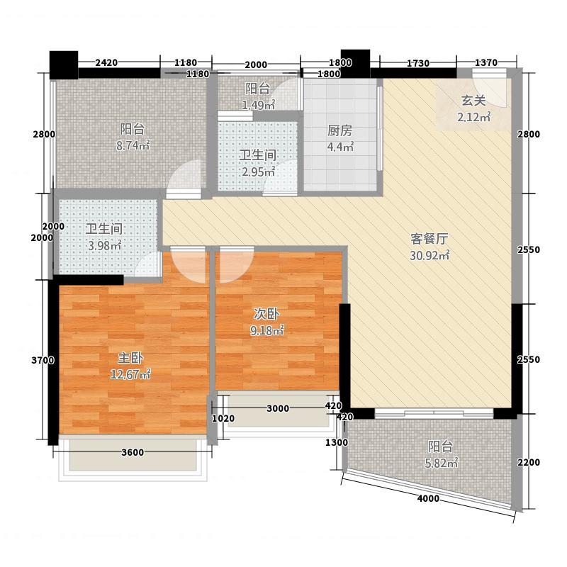 金钻商都31.71㎡3号楼A1户型2室2厅2卫1厨