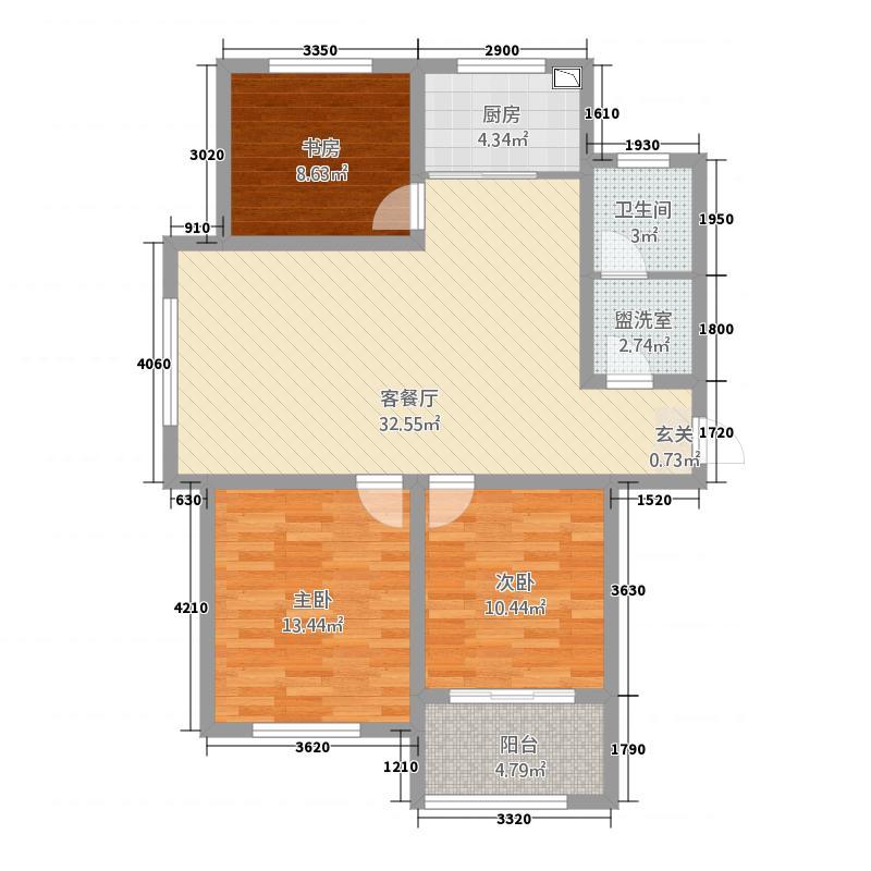 中国铁建・明山秀水114.77㎡A1户型3室2厅1卫1厨