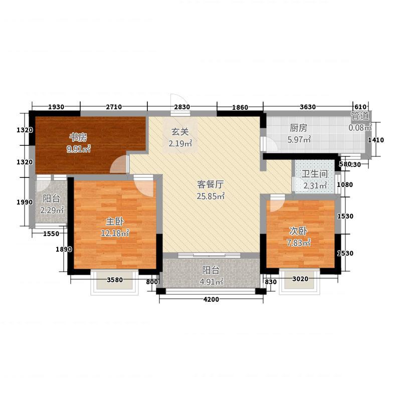 企业家苑1314.24㎡1-B户型3室2厅1卫1厨