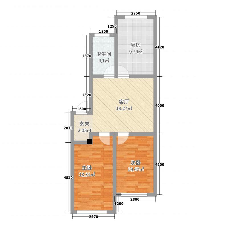 红星港城御园78.54㎡E户型2室2厅1卫