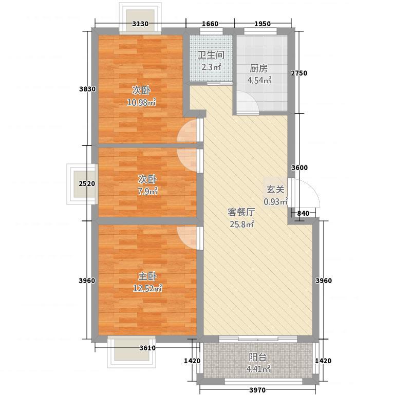 云珠海棠湾34.20㎡A户型3室2厅1卫1厨