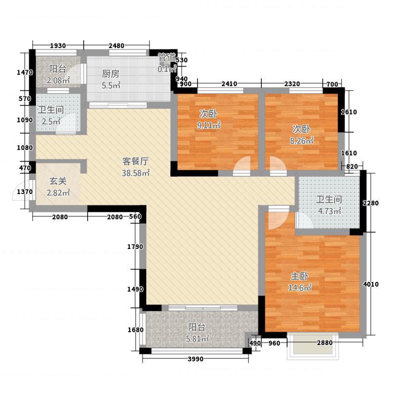 企业家苑53132.75㎡5-D户型3室2厅2卫1厨