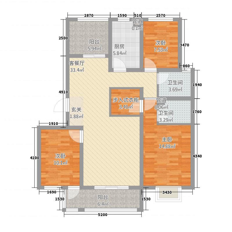 明昊和府23137.20㎡F户型3室2厅2卫1厨