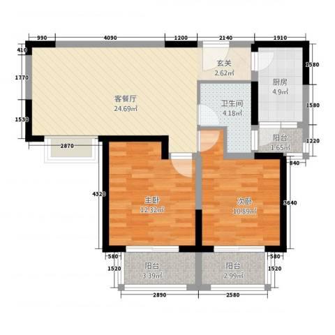新世纪绿树湾2室1厅1卫1厨64.99㎡户型图