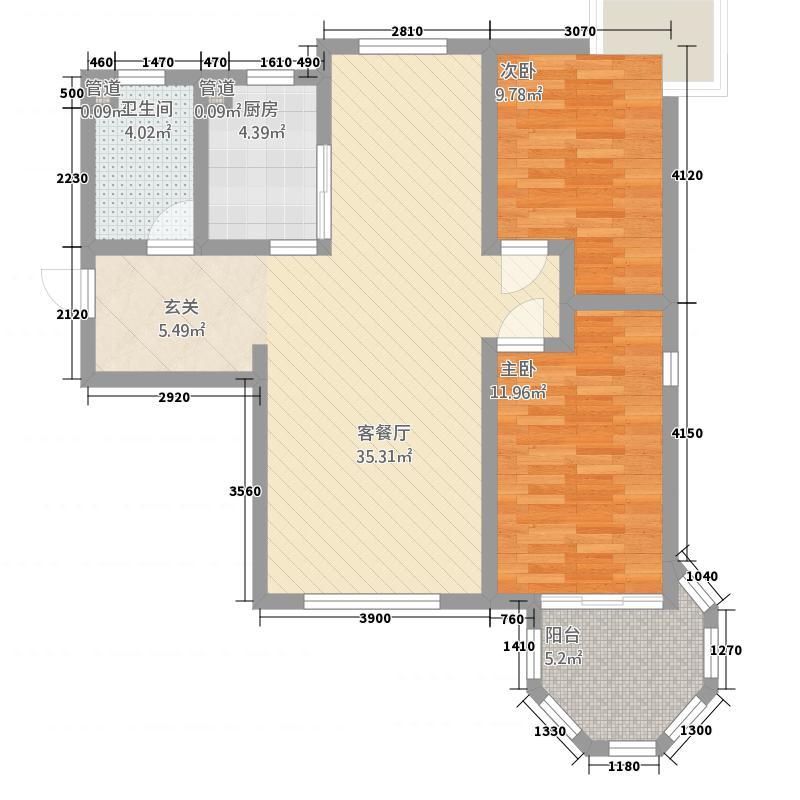 月亮湾14.12㎡一期高层1#、13#楼标准层户型2室2厅1卫1厨