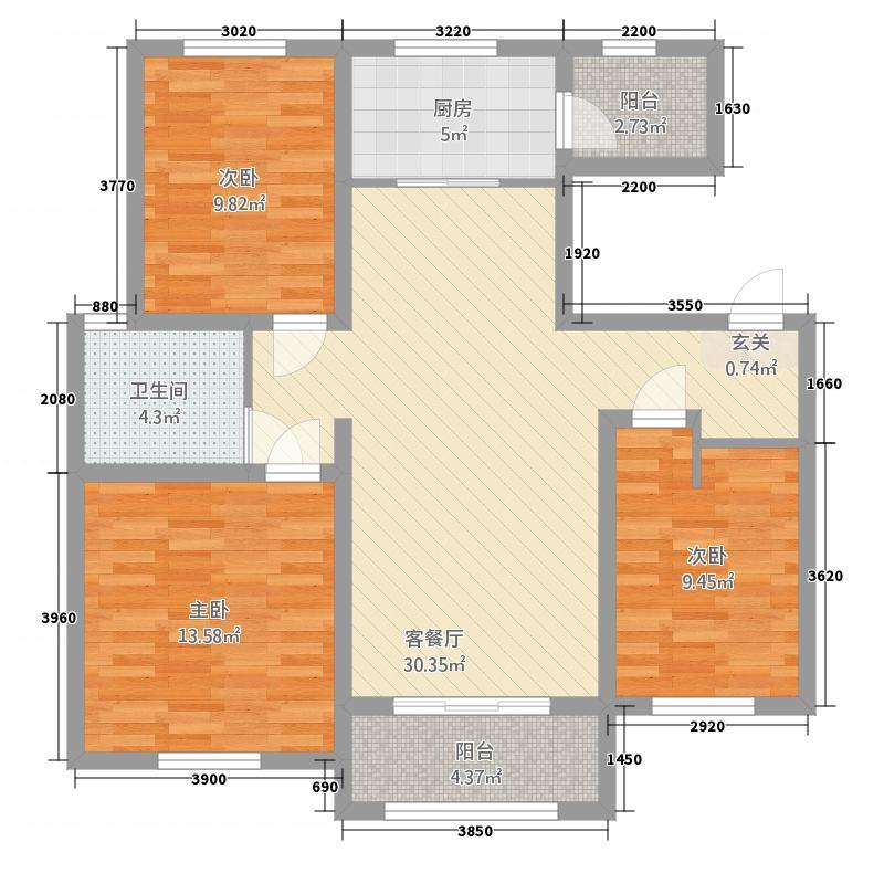 卡诺岛4682115.00㎡A4A6A8A20中间户户型3室2厅1卫1厨
