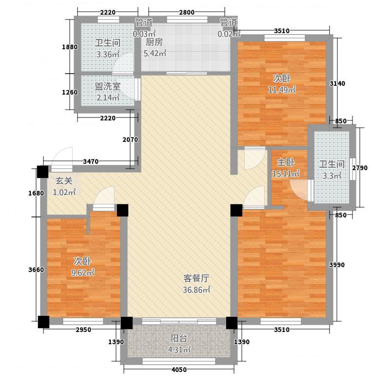 卡诺岛532133.19㎡A5边户户型3室2厅2卫1厨