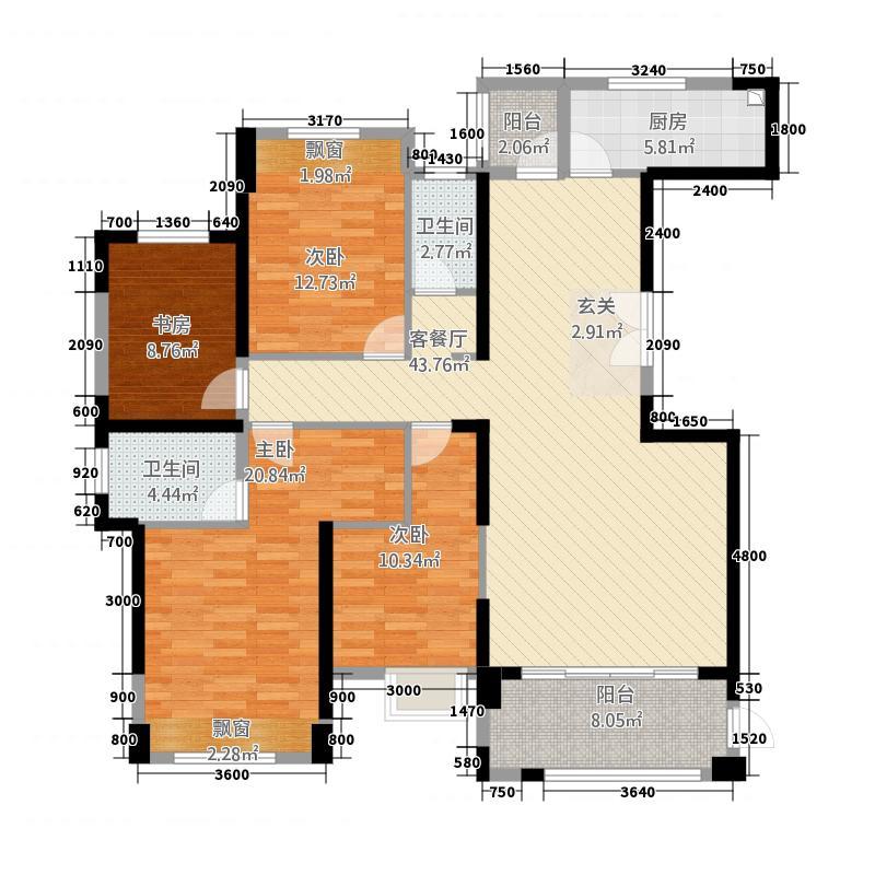 百德康城美墅11313.20㎡1#A户型3室2厅2卫1厨