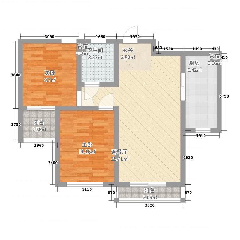 月亮湾1386.45㎡一期高层13#楼标准层户型2室2厅1卫1厨