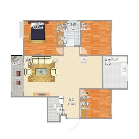 永泰庄19号院2室1厅1卫1厨123.00㎡户型图