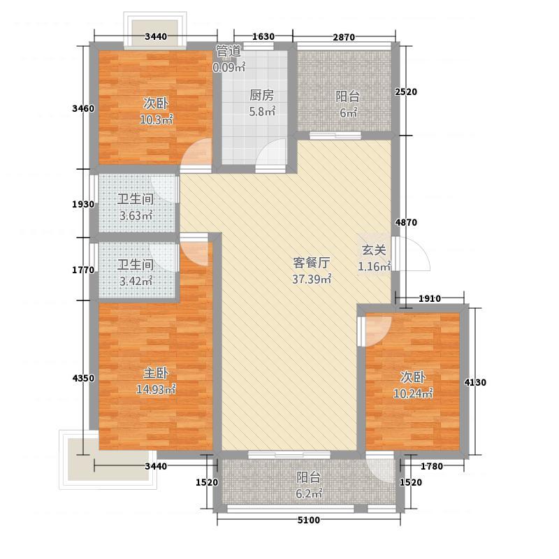明昊和府1314.20㎡F户型3室2厅2卫1厨