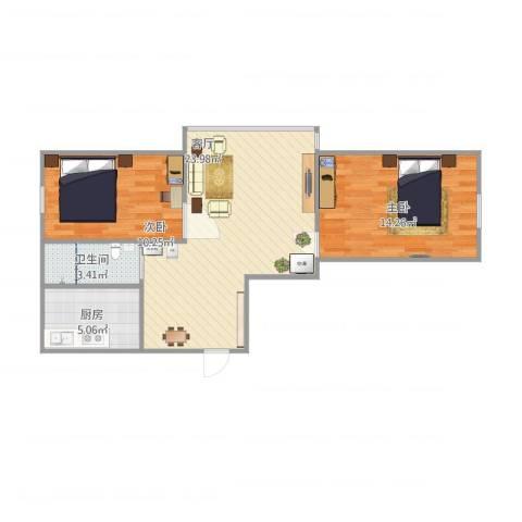 华宇新城2室1厅1卫1厨76.00㎡户型图