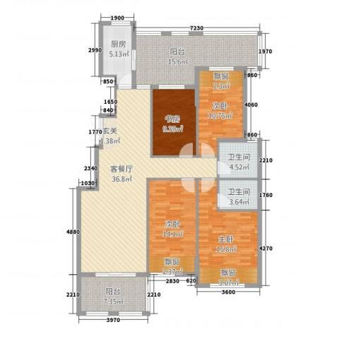江南春城・四期4室1厅2卫1厨4134.00㎡户型图