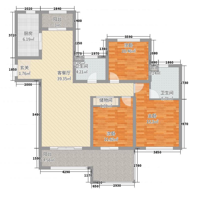 琴湖壹号142.58㎡户型3室2厅2卫1厨