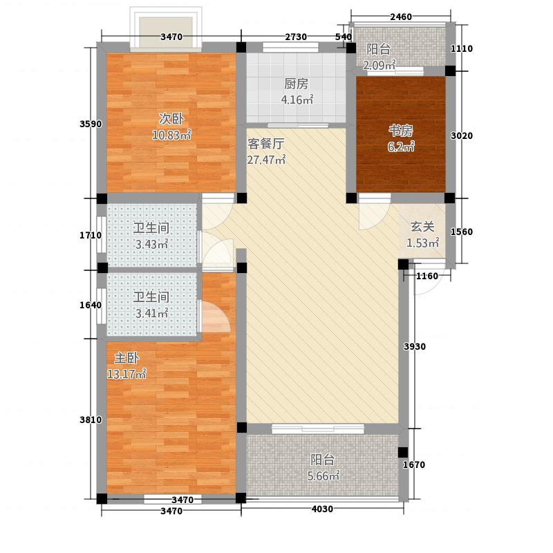 格兰御景园31.38㎡K户型3室2厅2卫