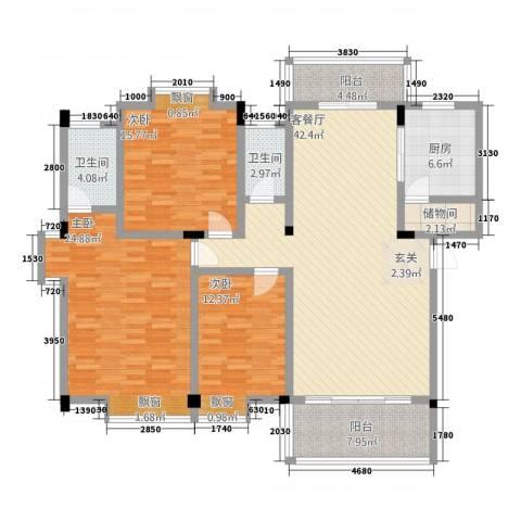 丽景华庭3室1厅2卫1厨4141.00㎡户型图