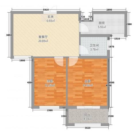 江南春城・四期2室1厅1卫1厨2378.00㎡户型图
