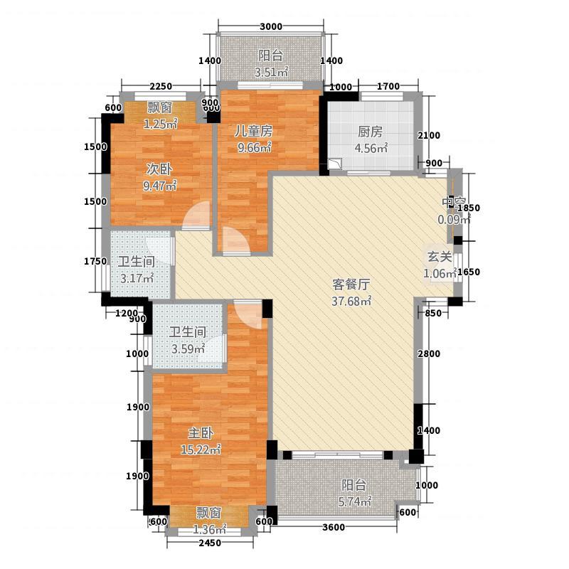 三盛国际海岸・��墅15.58㎡6层1-E洋房户型3室2厅2卫1厨