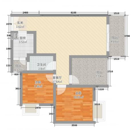 恒森・摩登时代2室1厅1卫1厨96.00㎡户型图