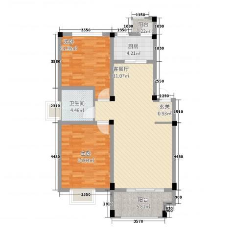 安正御龙湾2室1厅1卫1厨128.00㎡户型图
