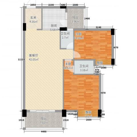 丽景华庭2室1厅2卫1厨218.00㎡户型图