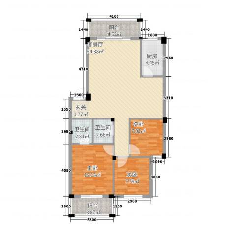 阳光名邸3室1厅2卫1厨4818.00㎡户型图