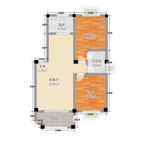 安正御龙湾2室1厅1卫1厨23116.00㎡户型图