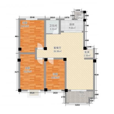 安正御龙湾3室1厅1卫1厨23116.00㎡户型图